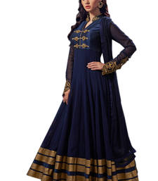 Buy blue georgette embroidered semi stitiched salwar with dupatta collar-neck-design online