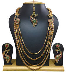 Buy Gold crystal antique gold necklace sets necklace-set online
