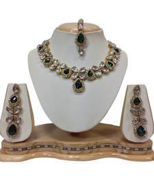 Buy Green crystal yellow gold necklace sets necklace-set online