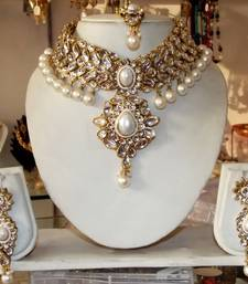 Buy WHITE KUNDAN PEARL DROP CHOKER NECKLACE EARRING TIKA WEDDING  SET eid-jewellery online