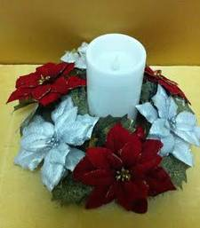 Buy Christmas  red and silver ponsettias candle holder christmas-gift online