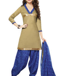 Buy Beige and blue printed cotton satin unstitched salwar with dupatta patiala-salwar online