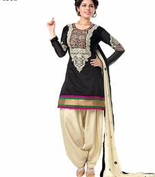 Buy Black cotton embroidered semi stitiched salwar with dupatta cotton-salwar-kameez online