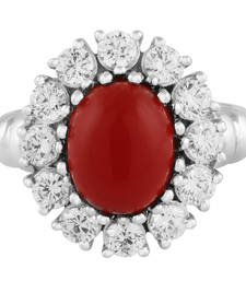 Buy Silver Flower Shaped Ring Studded With Red Onyx gemstone-ring online