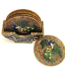 Diwali gifts - Carved Marble, hand painted coasters shop online