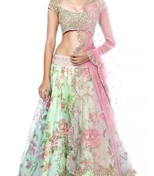 Buy Multicolour embroidered bhagalpuri unstitched lehenga-choli lehenga-choli online