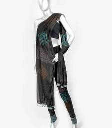Buy Cotton Printed Leggings and Dupatta with Crochet Work | Black other-apparel online