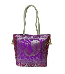 Buy Silk Gold Kissed Benarasi Handbag (Purple) gifts-for-girlfriend online