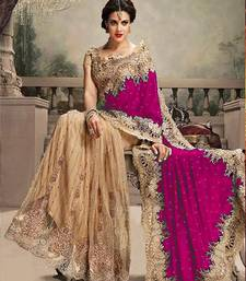 Buy Cream and Rani embroidered net+velvet saree with blouse party-wear-saree online