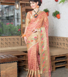Buy Peach tissue saree with blouse piece by Rupdarshi tissue-saree online
