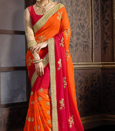 Buy Maroon and Orange embroidered georgette saree with blouse party-wear-saree online