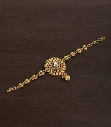 Buy GOLD PLATED BAJUBANDH IN DULL FINISH WITH KUNDAN SETTING bajuband online