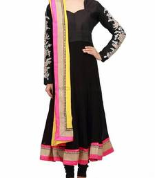 Black color anarkali suit having embroidered sleeves shop online