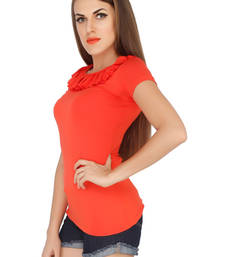 Buy Orange viscose tops top online