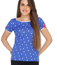 Buy Blue cotton tops top online