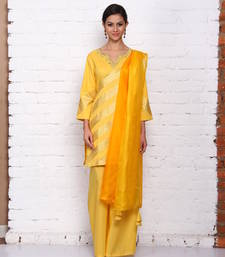 Buy yellow cotton embroidered stitched salwar with dupatta readymade-suit online