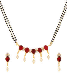 Buy Maroon cubic zirconia yellow gold mangalsutra mangalsutra online