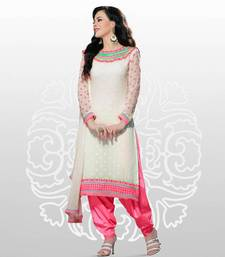 Elegant Georgette Anarkali  Printed Embroidered suit materials D.No SW1106