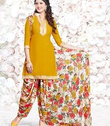 Buy Yellow printed Crepe unstitched salwar with dupatta dress-material online
