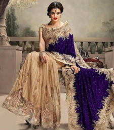 Buy Cream and Blue embroidered net+velvet saree with blouse party-wear-saree online