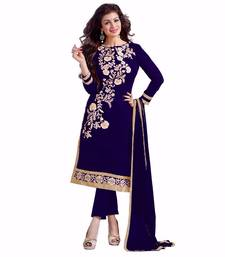 Buy Navy blue embroidered chanderi unstitched salwar with dupatta dress-material online