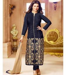 Buy Navy blue embroidered bhagalpuri silk unstitched salwar with dupatta dress-material online