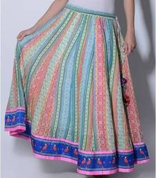 Buy Multi color hand block printed long skirt skirt online