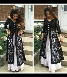 Buy Black embroidered georgetteandnet unstitched salwar with dupatta dress-material online