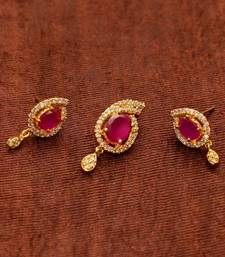 Buy Avni's ruby and cz stones pendent and earrings Earring online