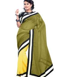 Buy green plain linen saree with blouse party-wear-saree online