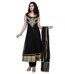 Buy Black net embroidered stitched salwar with dupatta readymade-suit online