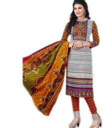 Buy White and mint cotton printed unstitched salwar with dupatta dress-material online