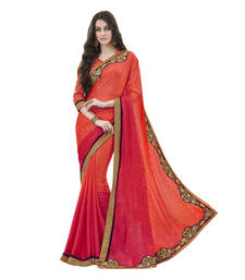 Buy orange embroidered jacquard saree with blouse jacquard-saree online