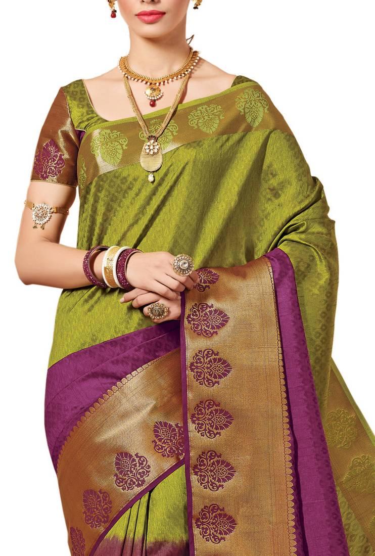Buy Mehendi Woven Banarasi Silk Saree With Blouse Online