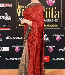 Buy Redish  Maroon sequins georgette and half net designer saree deepika-padukone-saree online