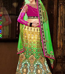 Buy Multicolor embroidered net bridal lehengas bridal-lehenga online