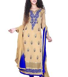 Buy Beige georgette embroidered unstitched salwar with dupatta dress-material online
