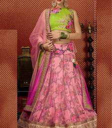Buy Piink printed net unstitched lehenga choli office-opening-gift online