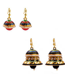 Buy Jingle bell-shaped and drop-shape earring Combo danglers-drop online