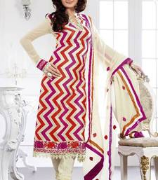 Buy Divine buttercream, deep scarlet red & magenta salwar kameez salwars-and-churidar online