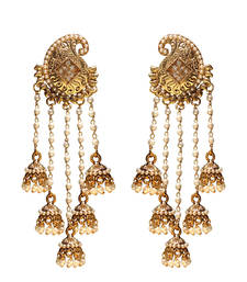 Buy Long Mango Designer Earrings with 5 Pearl Tassels danglers-drop online