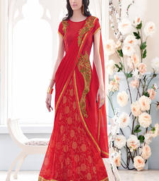 Buy Red embroidered net saree with blouse one-minute-saree online