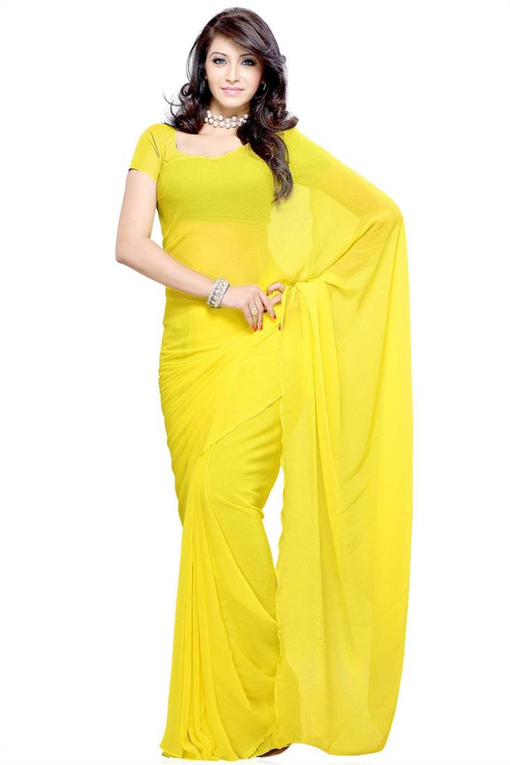 Buy Light Yellow Plain Georgette Saree With Blouse Online
