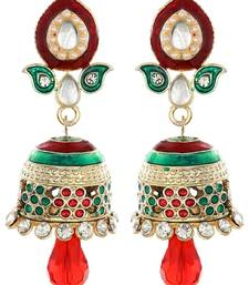 Buy Red Green Jhumki jhumka online