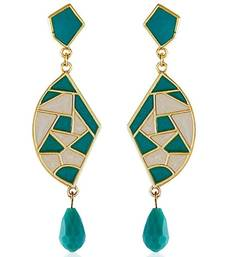 Buy Mosaic Sea Green Chic Earrings danglers-drop online