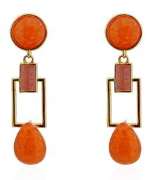 Buy Tangerine Squarish Crown Earrings danglers-drop online