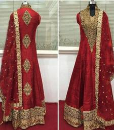 Buy Red cotton silk embroidered semi stitched salwar with dupatta collar-neck-design online
