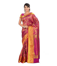 Buy Purple and Pink printed faux jacquard saree with blouse jacquard-saree online