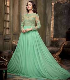 Buy Green Net Embroidered semi stitched Gown with dupatta dress-material online