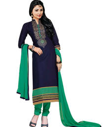 Buy Styles Closet Navy Blue Embroidered pure cotton semi stitched salwar with dupatta pakistani-salwar-kameez online